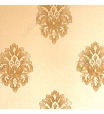 Beautiful damask pattern gold beige color self design carved and texture finished wallpaper