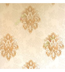 Beautiful damask pattern brown gold color self design carved and texture finished wallpaper