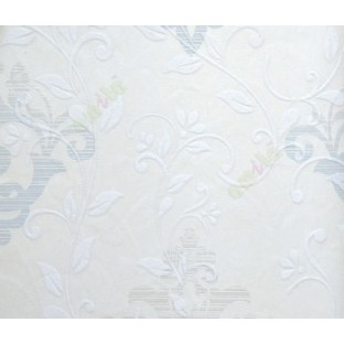 Traditional Blue Cream Colors Natural Floral Swirls Embossed Finished With Texture Background Wallpaper