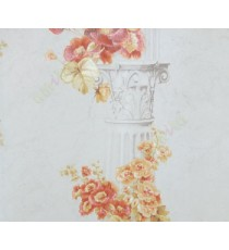 Beautiful flower hanged in the beautifully carved palace pillar red yellow white colors combination wallpaper