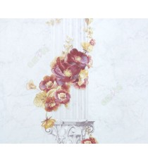 Beautiful flower hanged in the beautifully carved palace pillar maroon white grey yellow colors combination wallpaper