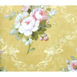 3D Embossed Rose Flower Traditional Look In Red White Green And Golden Color Combination With Floral Crossing Garland Wallpaper