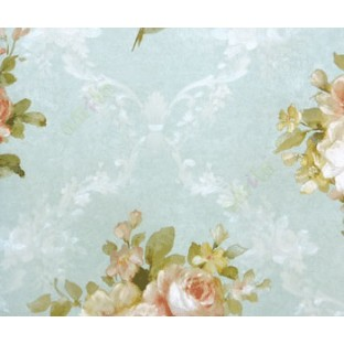 3D embossed rose flower traditional look in maroon blue green color combination with floral crossing garland wallpaper