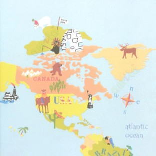 Green Yellow Red Black Blue Color Combination In Kids Zone Compass - World map in blue color