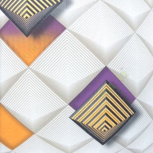3D illusion geometric shapes circles purple black gold black beige parallel square core wallpaper
