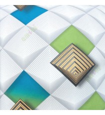 3D illusion geometric shapes circles blue green grey gold black parallel square core wallpaper