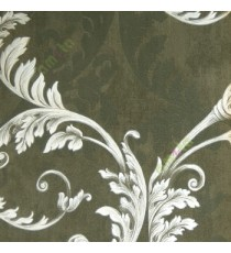 Black and white color traditional big floral swirl leaf pattern self design texture finished home décor wallpaper