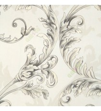 Black white silver color traditional big floral swirl leaf pattern self design texture finished home décor wallpaper