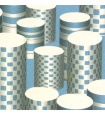 Blue cream color geometric paper cylinder square concave horizontal lines long hollow buckets texture finished home décor wallpaper