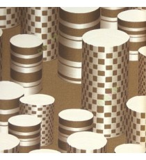 Brown cream color geometric paper cylinder square concave horizontal lines long hollow buckets texture finished home décor wallpaper