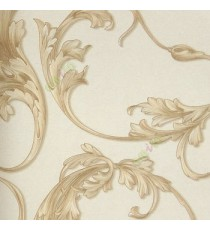 Brown beige gold color beautiful and big size floral swirls flower leaf pattern traditional design flowing leaf home décor wallpaper
