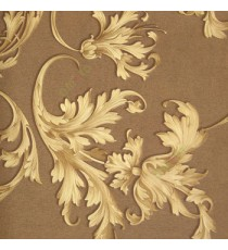 Dark brown gold color beautiful and big size floral swirls flower leaf pattern traditional design flowing leaf home décor wallpaper