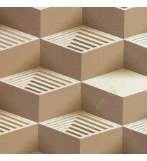 Brown beige gold color abstract geometric square step blocks L-shaped bold lines solids blocks home décor wallpaper