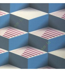 Blue pink grey beige color abstract geometric square step blocks L-shaped bold lines solids blocks home décor wallpaper