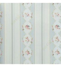 Blue grey green purple white color vertical bold stripes with Traditional flower oval shaped vertical stripes texture lines wallpaper