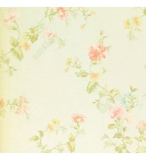 Pink green yellow white color small beautiful flowers and long stem leafy plants with white background wallpaper