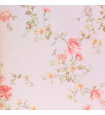 Pink yellow green brown color small beautiful flowers and long stem leafy plants with white background wallpaper