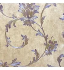 Big floral swirl damask purple brown beige color beautiful look traditional pattern wallpaper