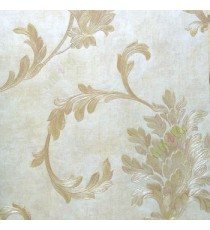 Big floral swirl damask brown beige gold color beautiful look traditional pattern wallpaper