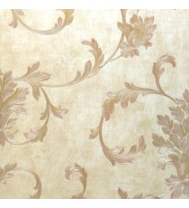 Big floral swirl damask brown gold beige color beautiful look traditional pattern wallpaper