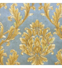 Big damask pattern carved finished in green brown gold color traditional designs wallpaper