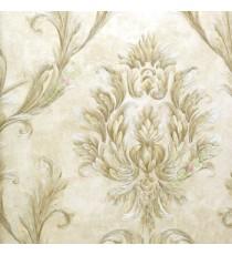 Big damask pattern carved finished in gold beige brown color traditional designs wallpaper