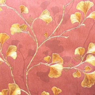 Natural Maroon Gold Beige Color Beautiful Floral Pattern Long Stem Support Leaf Designs Wallpaper