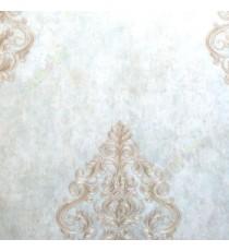 Big damask pattern traditional texture background brown green gold color self damask pattern wallpaper