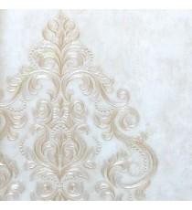 Big damask pattern traditional texture background brown gold beige color self damask pattern wallpaper