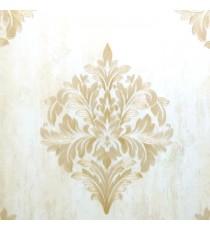 Big carved finished damask design traditional gold cream single big design with texture background wallpaper