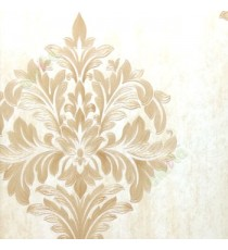 Big carved finished damask design traditional brown cream gold single big design with texture background wallpaper