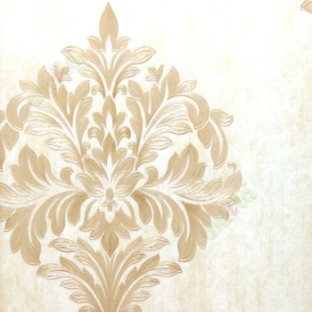 Big Carved Finished Damask Design Traditional Brown Cream Gold Single With Texture Background Wallpaper