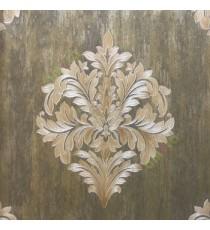 Big carved finished damask design traditional gold black brown green single big design with texture background wallpaper