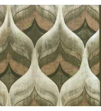 Black beige brown gold color big ogee design traditional texture carved finished wallpaper