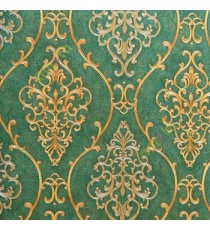Green gold color traditional damask design with continues ogee pattern texture carved finished wallpaper