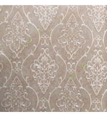 Brown beige gold color traditional damask design with continues ogee pattern texture carved finished wallpaper