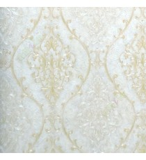 Gold beige color traditional damask design with continues ogee pattern texture carved finished wallpaper
