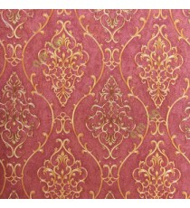 Gold maroon color traditional damask design with continues ogee pattern texture carved finished wallpaper