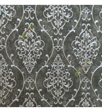 Black silver color traditional damask design with continues ogee pattern texture carved finished wallpaper