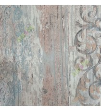 Blue beige gold brown color traditional pattern vertical texture lines carved finished wallpaper