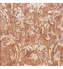 Dark copper brown black green color traditional swirls and flower leaf pattern wallpaper
