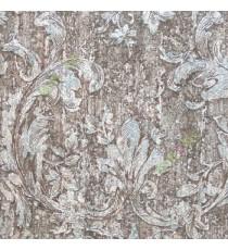 Black beige brown green blue color traditional swirls and flower leaf pattern wallpaper