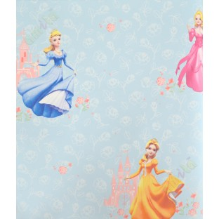 Kids Orange Pink Blue Rose Barbie Home Decor Wallpaper