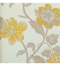 Yellow beige grey beautiful floral elegant design home décor wallpaper for walls