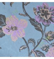 Blue purple black brown beautiful floral elegant design home décor wallpaper for walls
