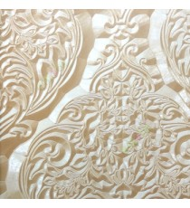 Beige cream color traditional damask carved floral leaf texture pattern floral buds big leaf wallpaper