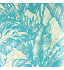 Blue big banana leaf and ferns swirl jungle plants beige background traditional looks wallpaper