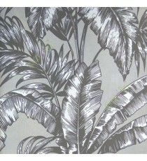 Black beige big banana leaf and ferns swirl jungle plants grey background traditional looks wallpaper