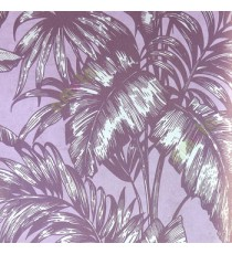 Dark purple beige big banana leaf and ferns swirl jungle plants purple background traditional looks wallpaper