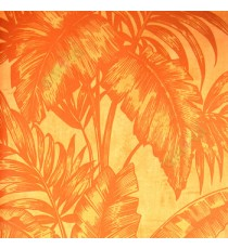 Dark orange color big banana leaf and ferns swirl jungle plants dark orange background traditional looks wallpaper